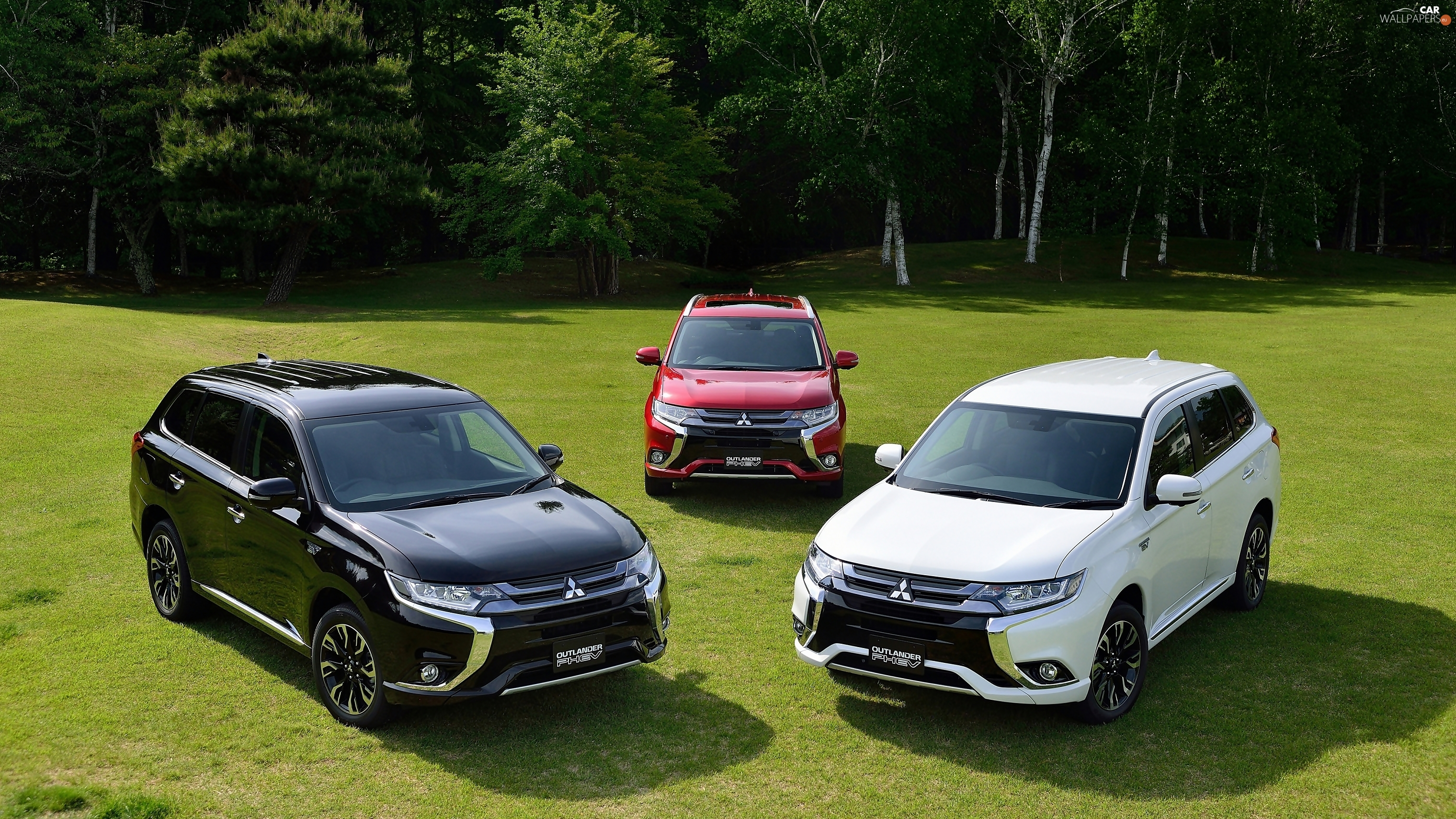Meadow, 2016, Three, forest, Mitsubishi Outlander PHEV