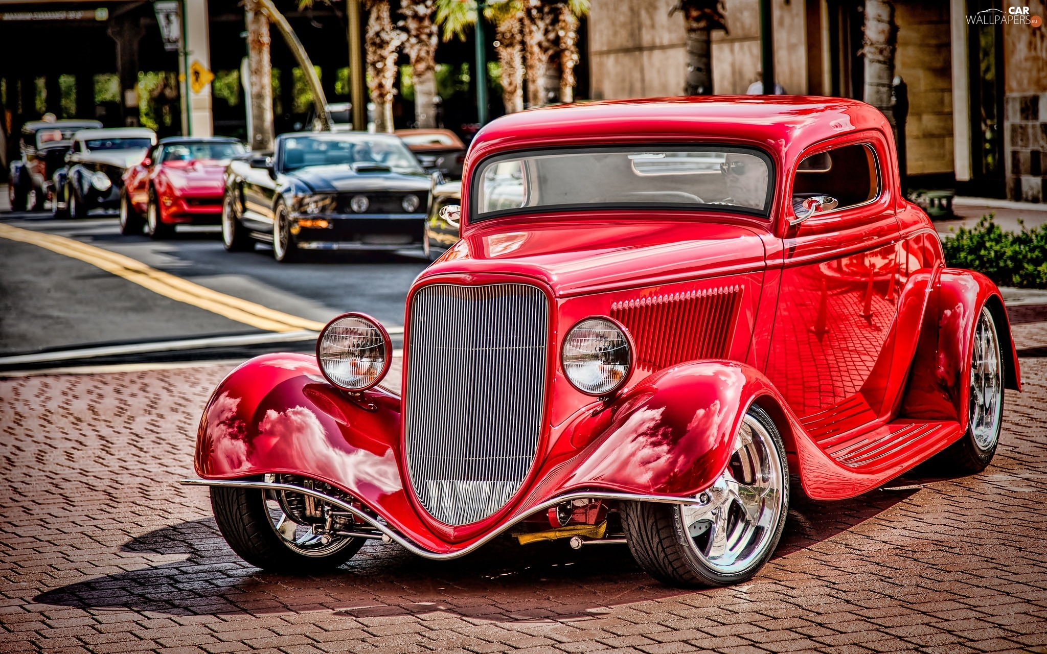 Retro, Ford, Red, 1934r, classic, coupe