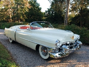 The historic car, Cabriolet, Cadillac Eldorado, White