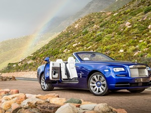 2016, Cabriolet, Way, Great Rainbows, The Hills, Rolls-Royce Dawn, blue, Stones