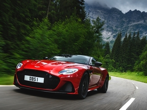 Way, Aston Martin DBS, viewes, Mountains, trees, Superleggera