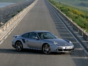 911, Automobile, Way, Porsche, silver, Turbo, ##