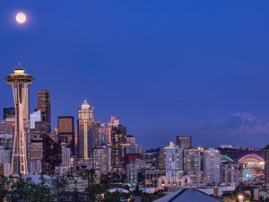 Seattle, tower, fullness, Space Needle, moon, Washington State, The United States, skyscrapers