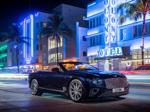 Houses, Night, Cabrio, Street, Bentley Continental GT V8