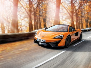 autumn, Orange, trees, viewes, Way, McLaren 570S