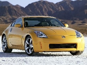 Mountains, Nissan 350Z Coupe, Yellow